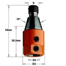 D3 10 D2 19,5 izq. Rosca M10 30º