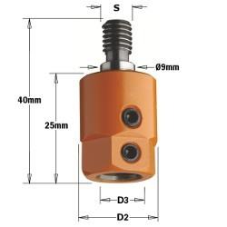D3 8 D2 16 izq. Rosca M8/9