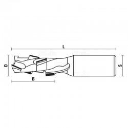 Fresa D.10 22LC 75LT M12 Z1+1 (3DP+1HW)
